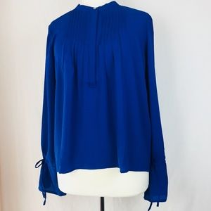 J. Crew Size M Tie Sleeve Top With Pintucks NWT